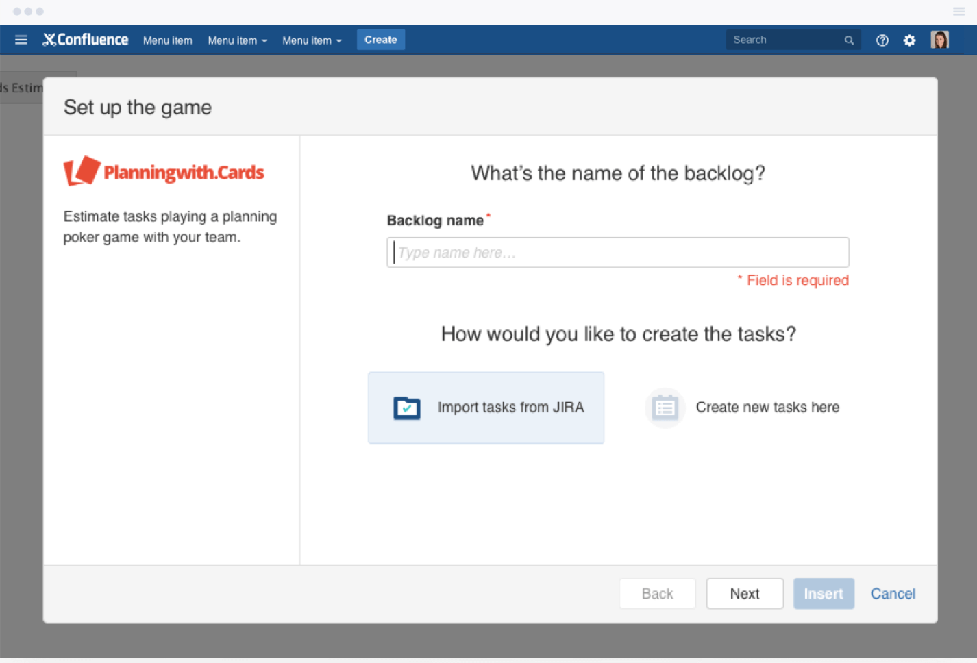 Create tasks or import backlogs from Jira or Confluence
